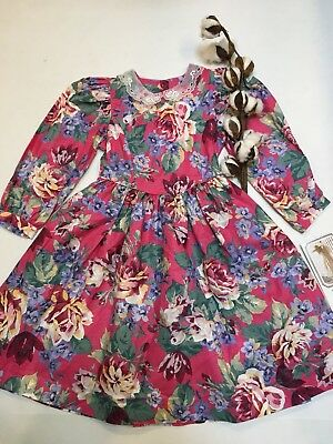 Mousefeathers Vintage Dress Pink Floral Girls Size 5 Pleat New with tag