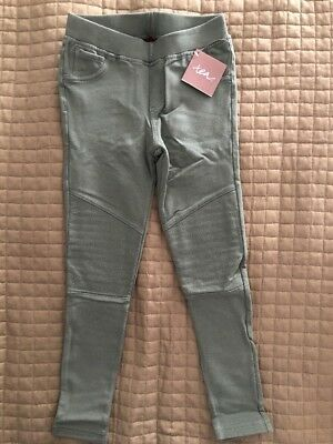 NEW NWT Tea Collection Girls Skinny French Terry Moto Pants Cedar Green Size 7!
