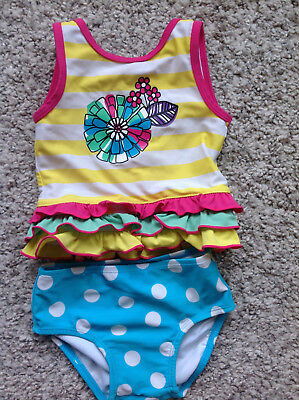 Hanna Andersson 2 piece Top and Bottom Swimsuit Toddler Size 80 18-24 mo PLAY