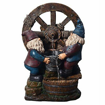 Outdoor Water Fountain Gnome Garden Decor Water Pump Waterfall Yard Patio  Large