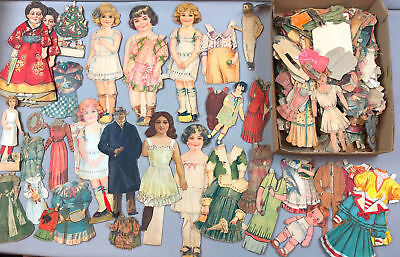 LOT Antique Victorian Art Deco Paper Doll Cut-Outs Stand Up Cardboard & Magazine
