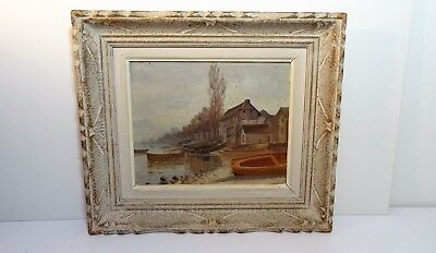 Antique Painting Hsp Landscape Marine Signed Oil Painting Signed