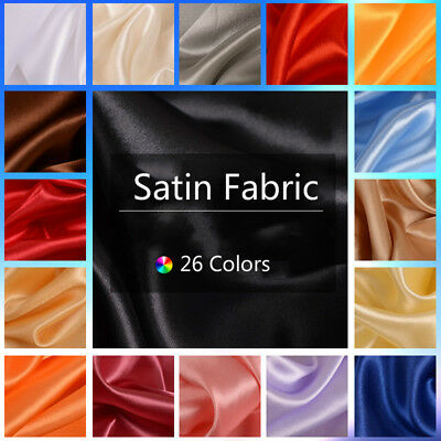 Satin Fabric Cloth Synthetic Silk Dressmaker Sewing Material DIY Dress By Meter