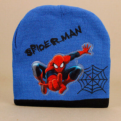 Spider-Man Kids Blue Beanie Spiderman Boys Soft Stretch Knit Lined Ages 5-12yrs