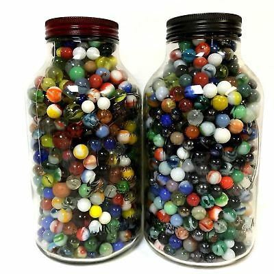 Estate Find Group of 60 Vintage Antique Glass Clay Collectible Marbles 9