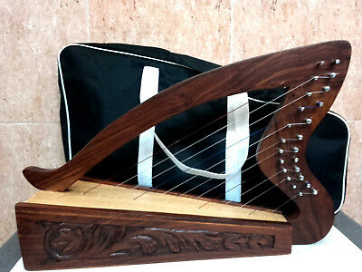 Arpa 12 Cuerdas Irish Harp with 12 nylon Strings Tuning key Carry Bag