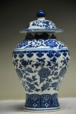EXQUISITE CHINESE BLUE AND WHITE PORCELAIN HANDMADE FLOWER STORAGE TANK zp