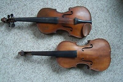 Two Antique Violins Full Size for Parts or Repair