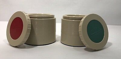 Vintage 8 OZ thermos Insulated Jar set of 2 Red and Green