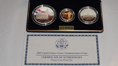 2001 Capitol Visitor Center 3 Coin Gold and Silver Proof Set