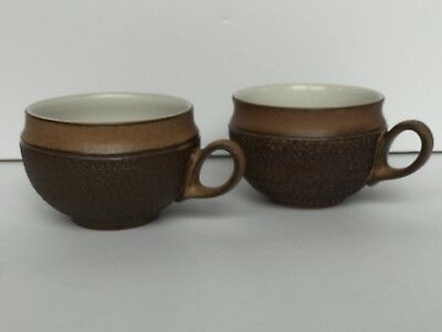 Vintage Denby Cotswold Country Fare, Brown/White 1973 Abstract 2 Coffee/Tea Cups
