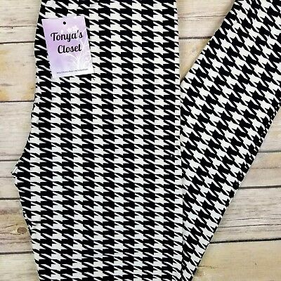 PLUS Size Black and White Houndstooth Leggings Curvy 10-18 TC
