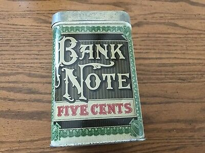 Vintage Bank Note Cigar Tin  Litho Five Cents Factory No. 750 1st Dist. PA