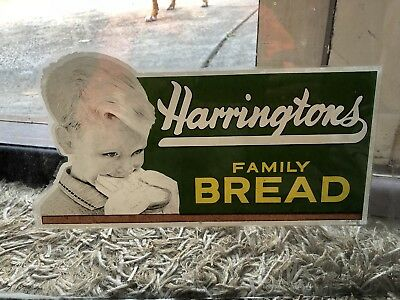 Vintage Harringtons family Bread Glass Decal window Sign milk bar bakery