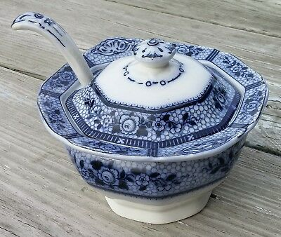 Antique Flow Blue Burleigh Ware Burgess & Leigh Premier Small Tureen With Ladle