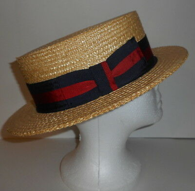 PONTE RIALTO Venice Italian Straw Boater Hat Made in Italy Size 7 3/8 Red Blue