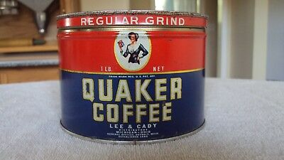 Vintage Quaker Coffee 1 Lb Metal Coffee Tin Can With Correct Lid