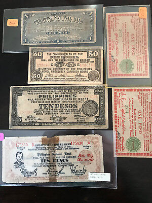 1941 + WWII Group of Philippine Emergency Currency LOT
