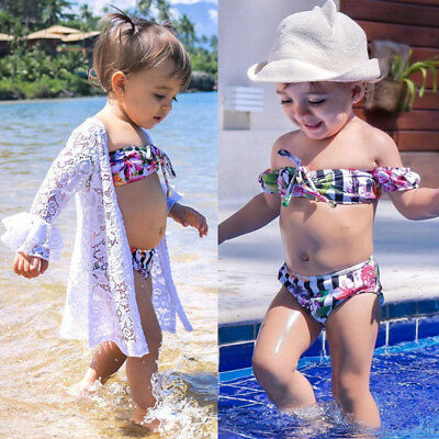 Striped Lace Kid Baby Girl Cove Up Dress Swimwear Off Shoulder Swimsuit Beach AU