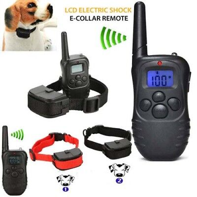 Waterproof 1000 Yard 1/2 Dog Shock Training Collar Pet Trainer w/ Remote 4 Modes
