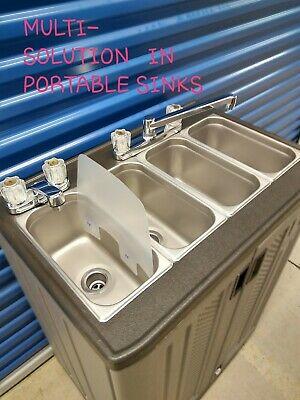portable sink, mobile concession 4 compartment with hot and cool water 110V