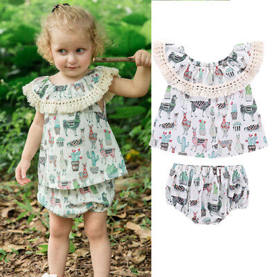Toddler Baby Kids Girls Dinosaur Top T-shirt Shorts Pants Clothes Outfits 0-24M