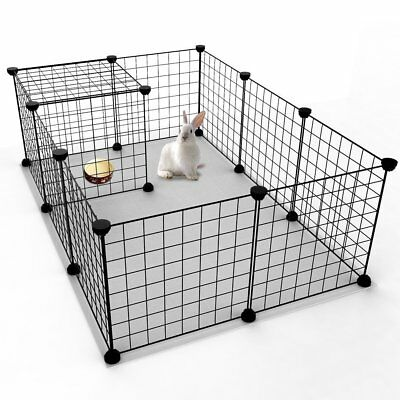 35cm Tall Pet Playpen Dog/Cat Metal Crate Fence Pet Play Pen Exercise Cage Black