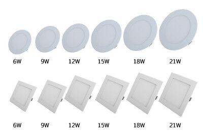 Dimmable 6W 9W 12W 15W 18W 21W LED Recessed Ceiling Panel Down Light Bulb Lamp