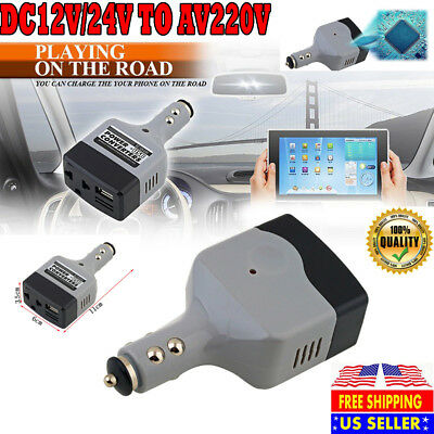 Car Power Converter DC 12V/24V to AC 220V Auto Inverter Adapter  USB Charger USA