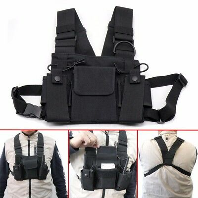 3 Pocket Chest Bag Harness Backpack for Motorola Baofeng Walkie Talkie Radio