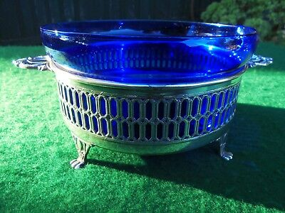 Antique Murano Silver Plate Footed Serving Bowl Bristol Blue Glass Liner