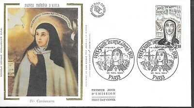 FR382) France 1982 Holy Therese Of Avila Silk FDC $4.00