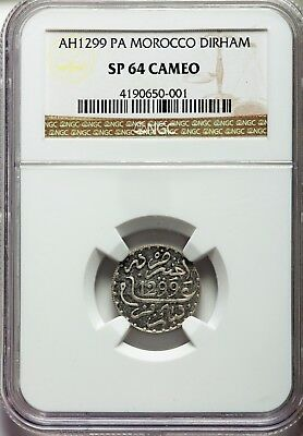 Morocco 1882(Ah1299) Gem Cameo Silver Proof Pattern-Ngc 64-One Of Only 5 Struck!
