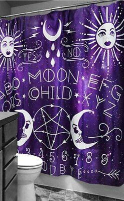 Too Fast Gothic Goth Occult Moon Child Ouija Purple Shower Curtain