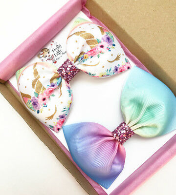 Girls Glitter Unicorn Butterfly Floral Hair Bow Pinch Bow Girls Hair Clip