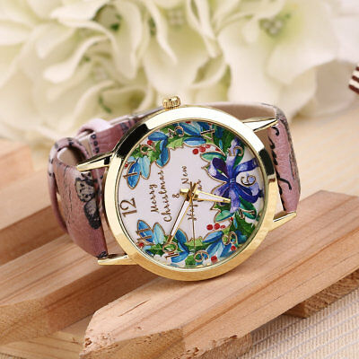 Unisex Casual PU Leather Quartz Band Metal Shell Watch Christmas Party Gifts JC
