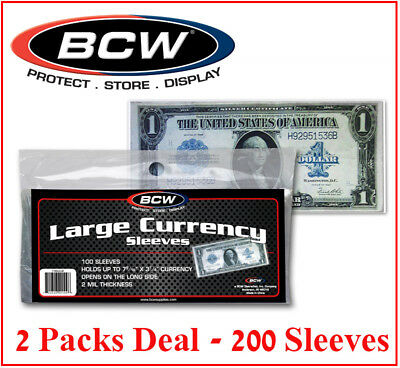 200 Large Size US Currency Banknotes Sleeves Protectors BCW Ultra Thin Holders