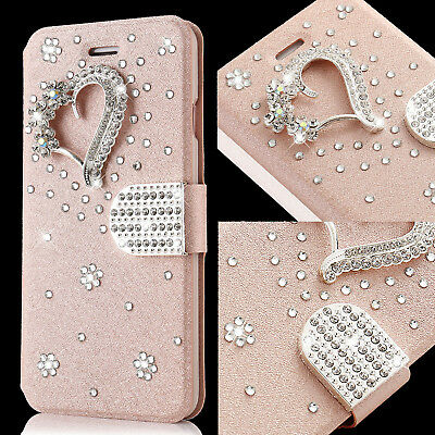 Bling Glitter Diamond Heart Case For Samsung Galaxy S9 Leather Flip Wallet Cover