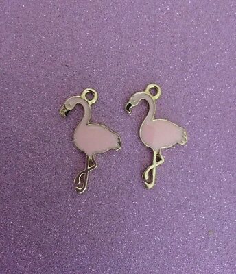 2 Goldplated pink enamel Flamingo charms
