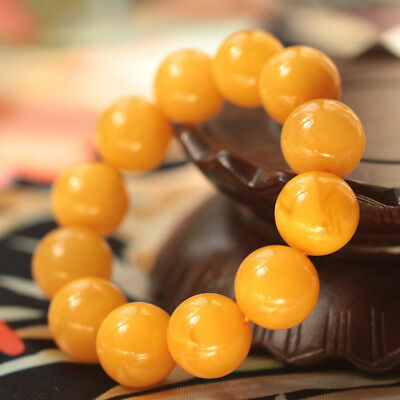 Genuine Natural Chicken Oil Yellow Baltic Amber Bead Bracelet Hand Bead String