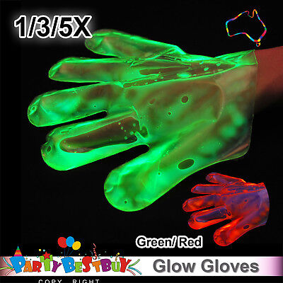 New 1/3/5X Green Red Glow Gloves In The Dark Light Party Game Night Fun Neon Hal