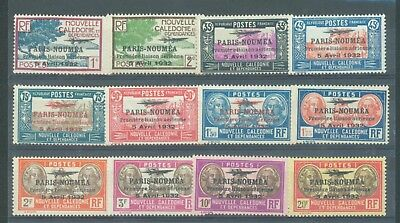 New Caledonia 1933 Paris-Noumea part set 12 values between sg.185 & 210 MH