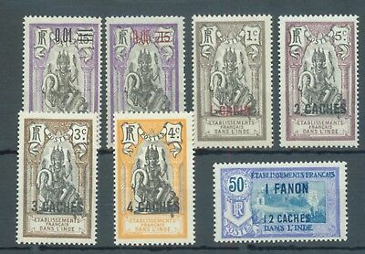 French Indian Settlements 1922-3 range of 7 MNH sg. 59, 61-5, 77