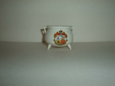 Goss Crested Ware  Model Of Old Manx Pot At Peel - With Matching Douglas Crest