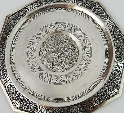 CHINESE Antique SILVER PIERCED & ENGRAVED DISH 19th Century​