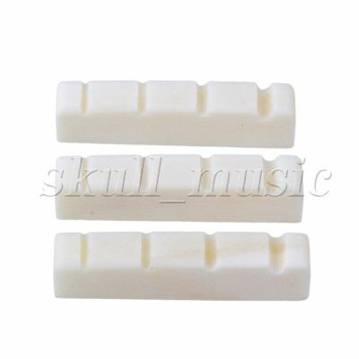 3 x Bass Bone Nut Up-Saddle For 4 String Bass Guitar