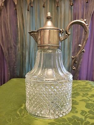 Vintage Wine Claret Decanter Marked Silver Plated Italy No Chips Not Polished