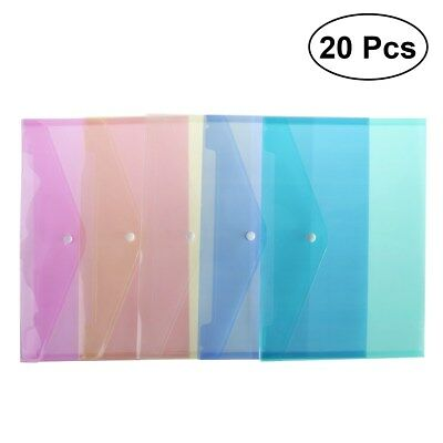 20x A4 Plastic Stud Assorted Colours Document Wallet Files Folder School Office