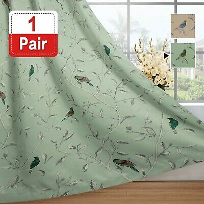 Blockout Curtains Living Room Birds Pattern Country Curtains Thermal Heavy Soft