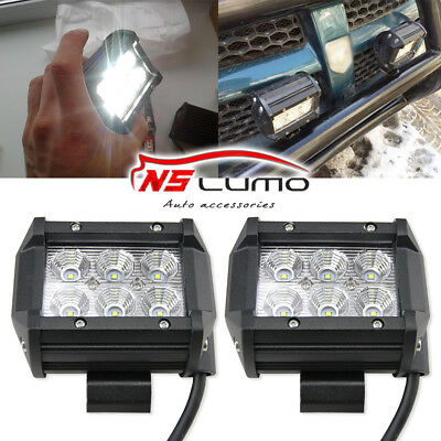 Pair 4INCH 18W CREE LED WORK LIGHT BAR FLOOD DRIVING OFFROAD UTV FOG LAMP TRUCK